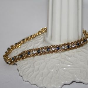 Beautiful vintage gold and blue & cz bracelet